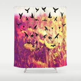 Dandelions and Crows Shower Curtain