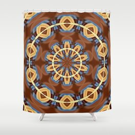 Blue Wood Kaleido Pattern Shower Curtain