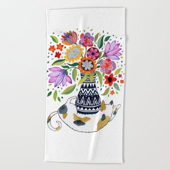 Calico Bouquet Beach Towel