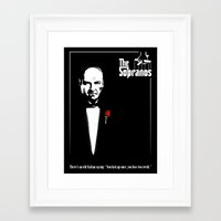 sopranos Framed Art Prints featuring The Sopranos (The Godfather mashup) by Agu Luque