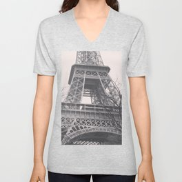 Eiffel tower, Paris, black & white photo, b&w fine art, tour, city, landscape photography, France Unisex V-Neck