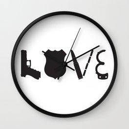 Love Police Officer Wall Clock