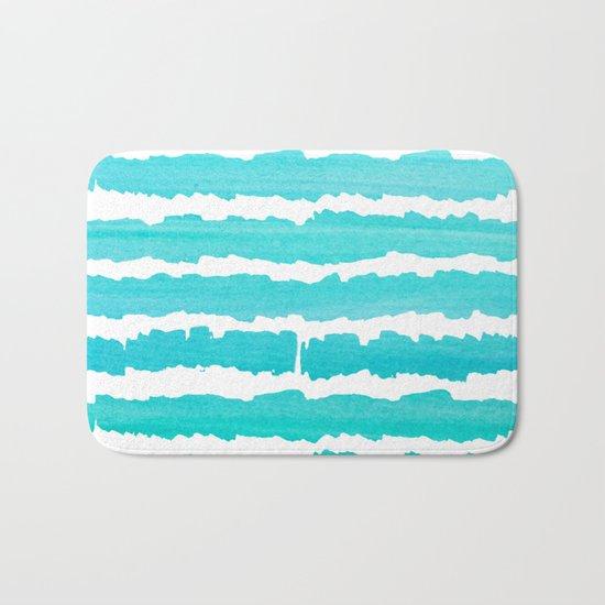 Maritime pattern- aqua handpainted stripes on clear white- horizontal Bath Mat