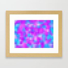 blue pink and purple pixel Framed Art Print