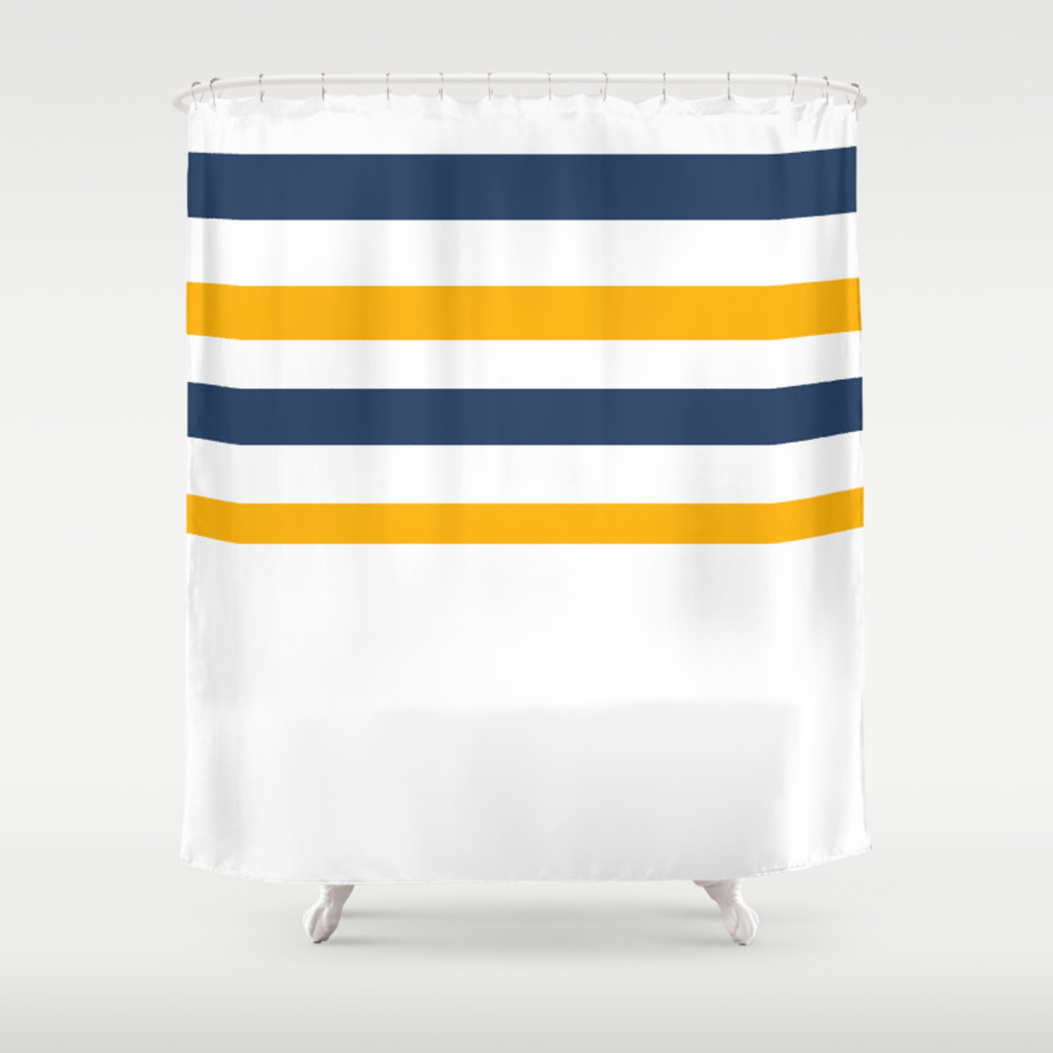 Yellow Blue White Stripes Shower Curtain