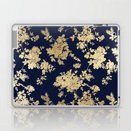 Elegant vintage navy blue faux gold flowers Laptop & iPad Skin