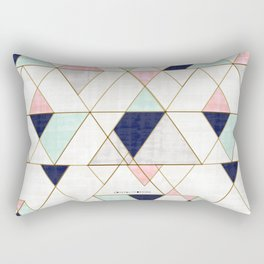 Mod Triangles - Navy Blush Mint Rectangular Pillow