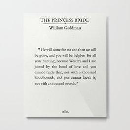 """Book Page - The Princess Bride """"The Bond of Love"""" Quote Metal Print"""