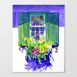 Window-box Watercolor Canvas Print