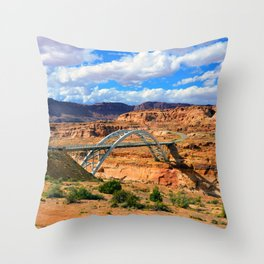 Hite crossing bridge Throw Pillow