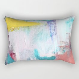 Colfax: an interesting, vibrant, abstract mixed media piece in a variety of colors Rectangular Pillow