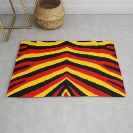 Yellow Red and Black German Zebra Jungle Stripes Rug
