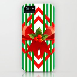 Christmas gift wrap decoration red green iPhone Case