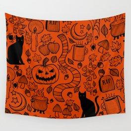 October Pattern- Black & Orange Wall Tapestry