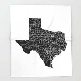 Texas Black Map Throw Blanket