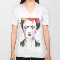 frida V-neck T-shirts featuring Frida by SirScm