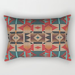 Native American Indian Tribal Mosaic Rustic Cabin Pattern Rectangular Pillow