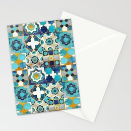 Spanish moroccan tiles inspiration // turquoise blue golden lines Stationery Cards
