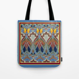 Grey-Burgundy Color & Yellow Art Nouveau Butterfly Design Tote Bag