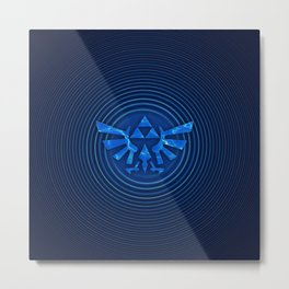 ZELDA Triforce Blue Metal Print