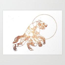Steampunk Robot Werewolf Art Print