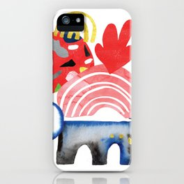 Watercolor collage composition in coral blue pink black gold shapes and doodles iPhone Case