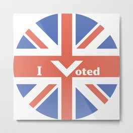 I Voted Illustration for the UK Metal Print