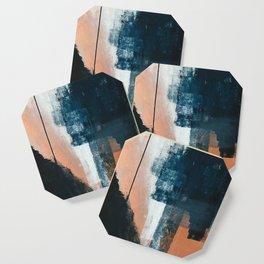 Vienna: a minimal, abstract mixed-media piece in pinks, blue, and white by Alyssa Hamilton Art Coaster