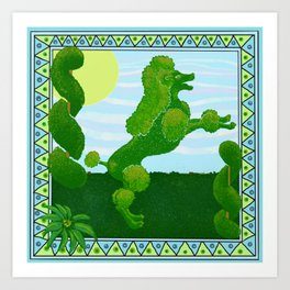 Green garden French boxwood topiary with poodle  Art Print