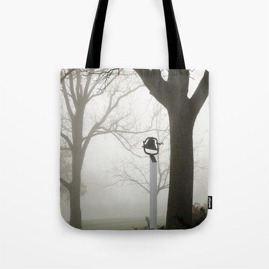 Misty school bell in autumn Tote Bag
