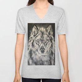 Crazy Eyed Wolf Unisex V-Neck