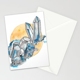 Blue Metallic Crystals Stationery Cards