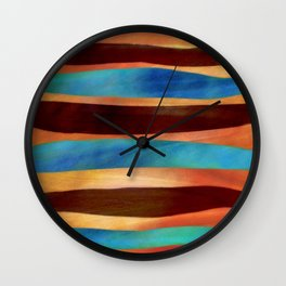 Blue bronze abstract stripes Wall Clock