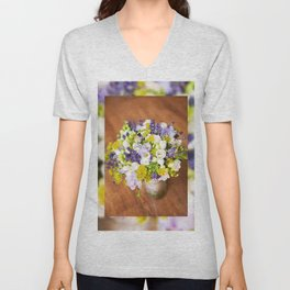Bridal freesia bouquet wedding flowers Unisex V-Neck
