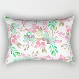 Pink teal watercolor cute hand painted butterfly floral Rectangular Pillow