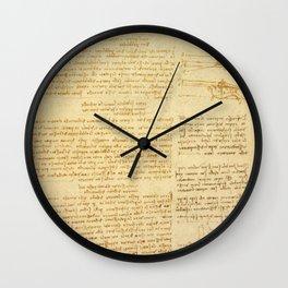 """Leonardo da Vinci """"Notes on bird flight"""" Wall Clock"""