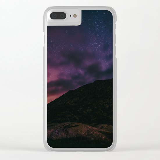 Night sky #stars #mountains Clear iPhone Case