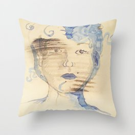 Abstract Portrait in Blue Somber Throw Pillow