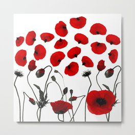 Modern Black and Red Flowers and Petals Metal Print