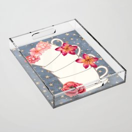 Floral Coffee Cups Acrylic Tray
