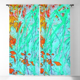 Tangle of twigs in aqua and coral Blackout Curtain