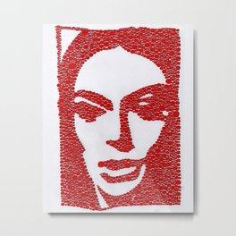Barbara Steele in Red Metal Print