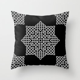 Black and White Celtic Star Throw Pillow