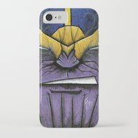 thanos iPhone & iPod Cases featuring The Mad Titan by chris panila