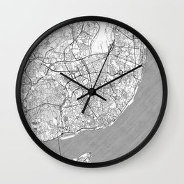 Lisbon Map Line Wall Clock