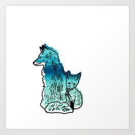 Fox Mother And Baby Art Print