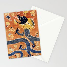Ningxia Blue Dragon Chinese Pillar Antique Rug Print Stationery Cards