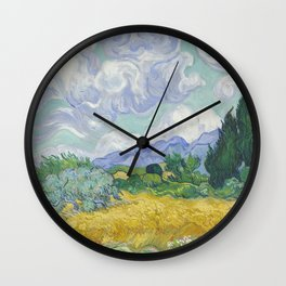 Vincent van Gogh - A Wheat field, with Cypresses Wall Clock