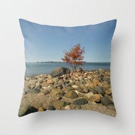Orange tree at the shore Throw Pillow