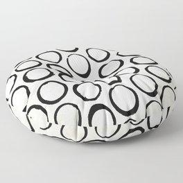Polka Dots Circles Tribal Black and White Floor Pillow